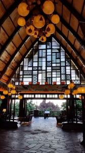 The inside of the Aulani lobby at the main entrance