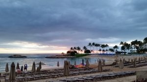 Aulani's lagoon at sunset